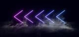 Fototapeta Scene - Smoke Neon Sign Arrow Shaped neon Laser Purple Blue Violet Signs Cyber Sci Fi Futuristic Concrete Floor Dark Club Dance Showcase Underground Garage 3D Rendering