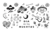 Mexico Vector Set. Dia De Los Muertos. Day Of The Dead. Mexican Holiday Symbols: Mexican Skulls, Food, Pan De Muerto, Sugar Skulls, Marigold Flowers, Guitar, Cactus