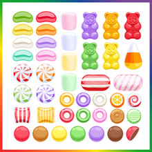 Set Of Different Sweets On Whi...