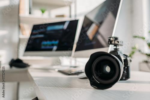 selective focus of digital camera near computer monitors Canvas Print