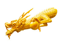 Chinese Golden Dragon Statue Isolated On White With Clipping Path, Feng Shui Statuette.