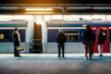 Blurry Concept Image Of People Travel By Train On Railway Platform At  MTR Train Station In HongKong