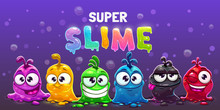 Super Slime Horizontal Banner. Funny Cute Cartoon Alien Slimy Characters.