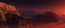 Canyon On Mars, Sunset In A Ca...