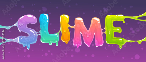 Cuadros en Lienzo Slime word banner. Colorful slime text. Vector illustration.