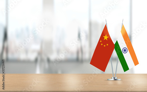 Chinese and Indian Flags are Paired Together At Office Desk Canvas Print