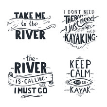 Set OfLettering Of Kayaking Qu...