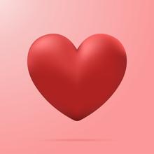 Red Heart 3D, Vector Illustration