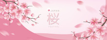 Beautiful Pink Cherry Blossom Banner Background