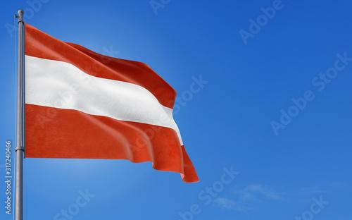 Austria flag waving in the wind against deep blue sky Canvas Print