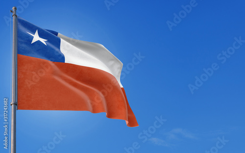 Photo Chile flag waving in the wind against deep blue sky