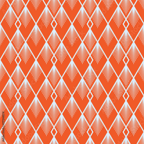 Art Deco vector semless pattern. Vintage decorative summer orange geometric background texture for wallpaper, print, poster, card and etc. Simple 1920 art deco background. Linear shapes