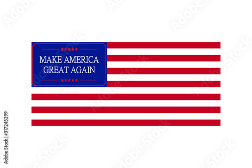 Fotografie, Obraz Make America great again quote with flag - Vector design for t-shirt graphics, b