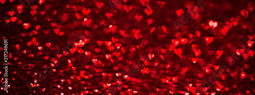 Obraz Abstract light, red bokeh pattern in heart shape. St Valentines Day or Holiday concept, background banner image. - fototapety do salonu