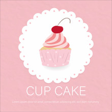 Sweet Cupcake On Lace Pink Pap...