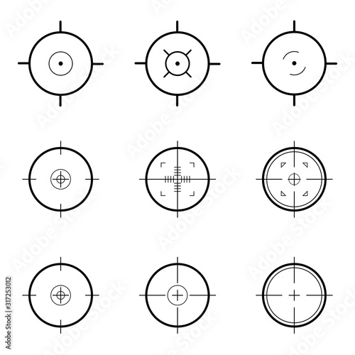Set of vector target or aim icons. Vector illustration Canvas Print
