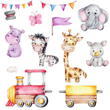 Set With Cartoon Train, Garland Of Flags, Lion, Elephant, Rhinoceros, Giraffe, Hippopotamus And Zebra, Butterfly; Watercolor Hand Draw Illustration;with White Isolated Background