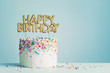 canvas print picture - Birthday cake with happy birthday banner