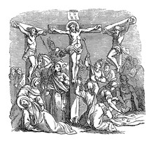 Antique Vintage Biblical Religious Engraving Or Drawing Of Crucified Jesus Hanging On Cross For During Crucifixion With Two Criminals. Bible, New Testament,Luke 23. Biblische Geschichte , Germany 1859
