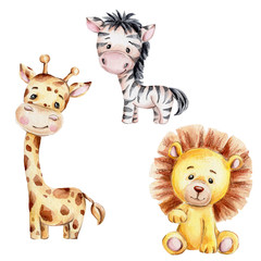 Set with cute cartoon giraffe, zebra and lion; watercolor hand draw illustration; with white isolated background