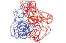 Bright Red And Blue Tangled Th...