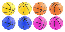 Group Of Basketball Toy Isolated On White Background, Small Ball For Kid