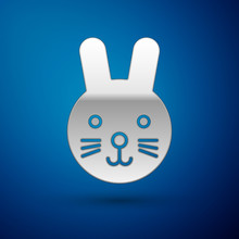 Silver Rabbit Zodiac Sign Icon Isolated On Blue Background. Astrological Horoscope Collection. Vector Illustration