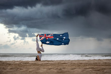 Australian Flag Hanging By The...