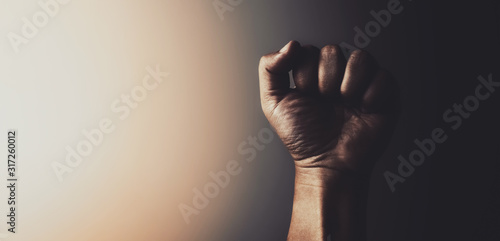 Canvastavla fist of male hand in vintage tone background