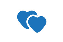 Two Hearts Icon Vector Blue Co...