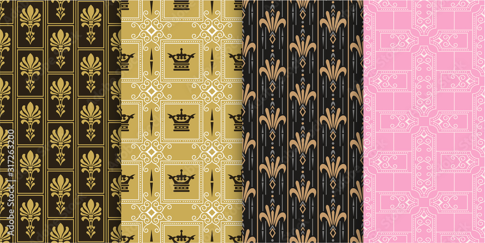 Art deco textile, wallpaper, fabric. 4 geometric patterns for your design. Set of seamless vector patterns in vintage style