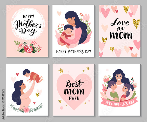 Obraz Happy Mothers Day greeting cards. Set of Calligraphy backgrounds and cartoon Mom with daughter & son. Vector illustration. - fototapety do salonu