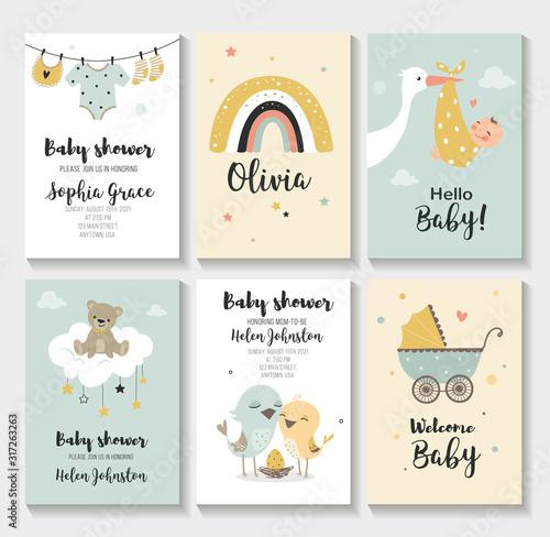 Obraz Baby shower invitation birthday greeting cards,  vector illustration - fototapety do salonu