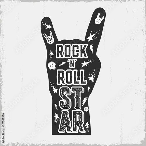 Rock 'n' roll vintage label. Vector illustration. © Iryna