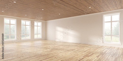Fototapeta Mock-up of white empty room and wood laminate floor with sun light cast the shadow on the wall,Perspective of minimal inteior design on nature background. 3D rendering. obraz