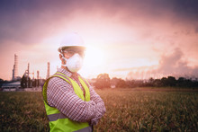 Close Up Young Engineer, The Background Is Industrial Plants, Release Toxic Substances, The Background Is Environmental Pollution, Air Allergy, Air Pollution Mask, Beautiful Light