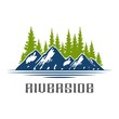 Mountain Lake Forest Pine Trees Rock / logo design vector