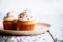 Vanilla Cupcakes With Sweetheart Sprinkles