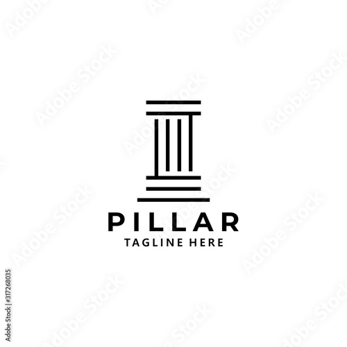 pillar logo icon vector isolated