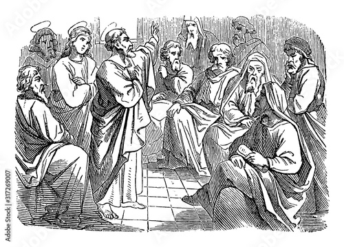Photo Antique vintage biblical religious engraving or drawing of saint apostle Simon Peter is speaking to Paul and Barnabas about circumcision