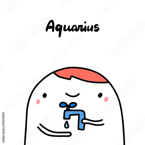 Photo Aquarius hand drawn vector illustration in cartoon comic style zodiac sign