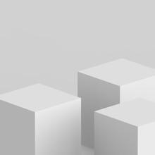 3d Gray White Cube And Box Pod...