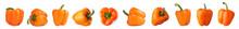 Set Of Ripe Orange Bell Pepper...