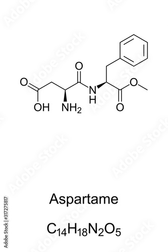 Aspartame molecule, skeletal formula Wallpaper Mural