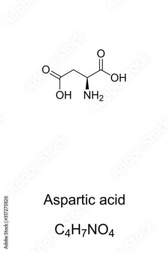 Aspartic acid molecule, skeletal formula Canvas Print