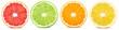 canvas print picture - Fresh orange, lemon, lime, grapefruit cut in half slice