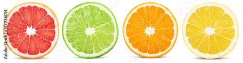 Fotografia Fresh orange, lemon, lime, grapefruit cut in half slice