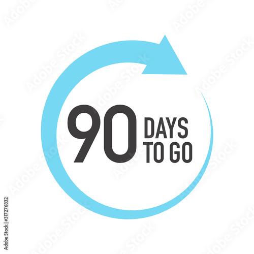 Valokuvatapetti Ninety four days to go icon. Round symbol with blue arrow.
