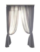 Beautiful Elegant Grey Curtains On White Background