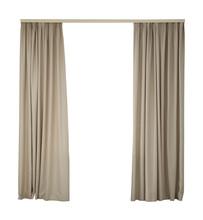 Beautiful Elegant Beige Curtains On White Background